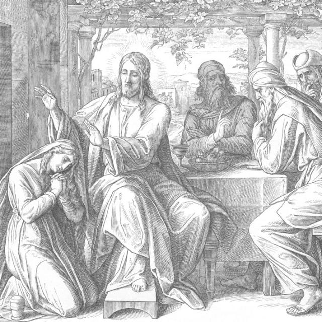 Иисус и грешница. Из иллюстраций к «Ветхому и Новому Завету», выполненных Юлиусом Шнорром фон Карольсфельдом