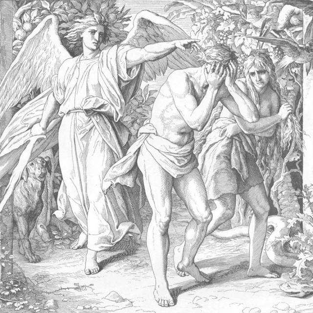 Изгнание из рая. Из иллюстраций к «Ветхому и Новому Завету», выполненных Юлиусом Шнорром фон Карольсфельдом