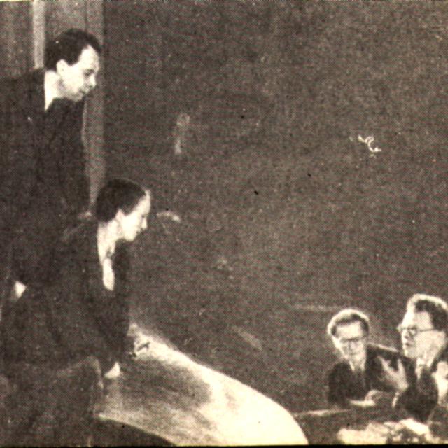 На репетиции пьесы «Лес» (МХАТ, 1947) , которую ведёт В.О. Топорков