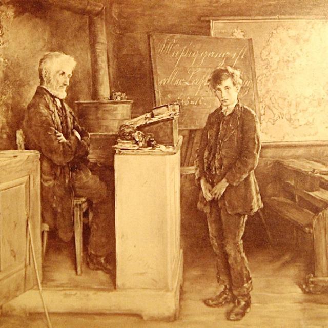 Отто Пильц (Германия, 1846-1910). «Учитель и ученик. Неисправимый» 1888 г.